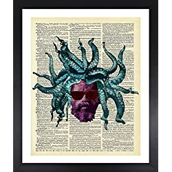 Rastaman Octopus Art Dictionary Print Vintage 8x10 Upcycled Abstract For Home Decor Decorations For Living Room Bedroom Office Ready-to-Frame