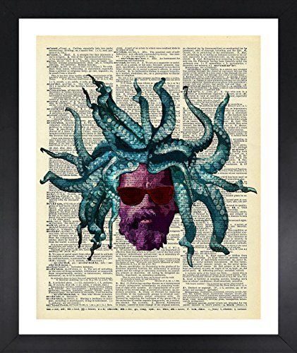 Rastaman Octopus Art Dictionary Print Vintage 8x10 Upcycled Abstract For Home Decor Decorations For Living Room Bedroom Office - Plastic Adjust Frames