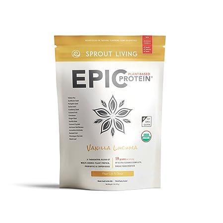 Sprout Living Epic Protein Powder, Vanilla Lucuma Flavor, Organic Plant Protein, Gluten Free, No Additives, 19 Grams Clean Vegan Protein 1 Pound,13 Servings