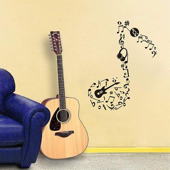 Amazon.com: Adhesivo de pared para guitarra, diseño de notas ...