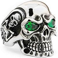LINSION Green CZ Eyes Stainless Steel Titan Skull Ring Mens Biker Ring 3A301