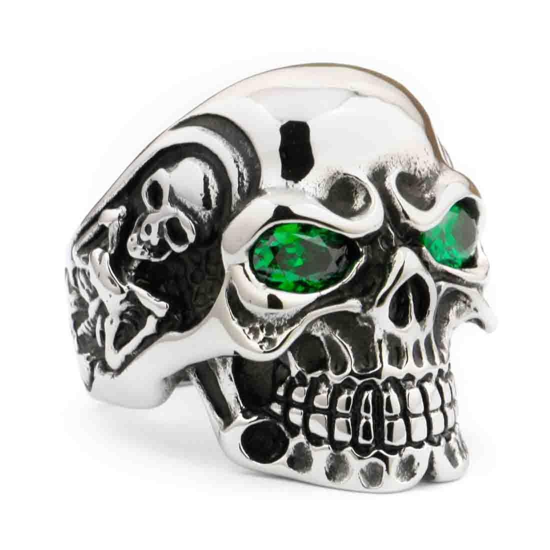 Linsion design gotico teschio anello in acciaio INOX verde CZ occhi nero argento tono Biker Jewerly 3/A301