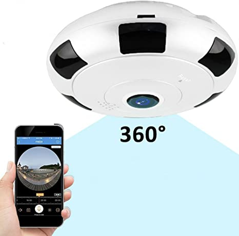 tksatr Cámara IP WiFi, panorámica Cámara 360 Completo Vista 3d Ojo ...