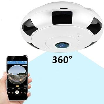tksatr Cámara IP WiFi, panorámica Cámara 360 Completo Vista 3d Ojo de Pez Wireless WiFi