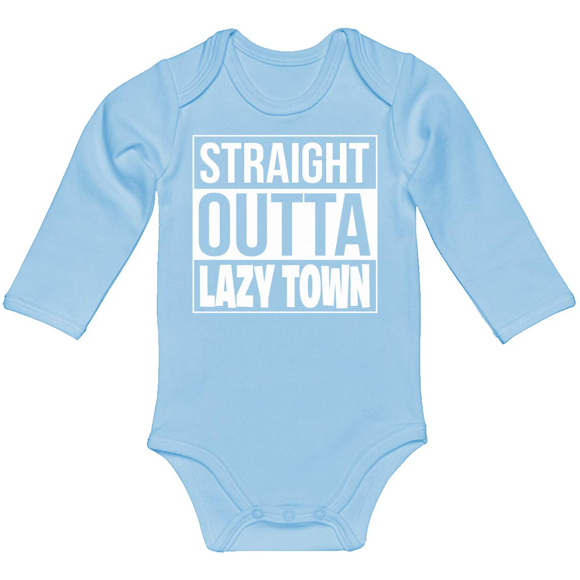 Indica Plateau Baby Romper Straight Outta Lazy Town 100/% Cotton Long Sleeve Infant Bodysuit