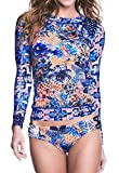Jqing Women's Flower Print UV Sun Protective Long Sleeve 2 Piece Swimsuit Rashguard