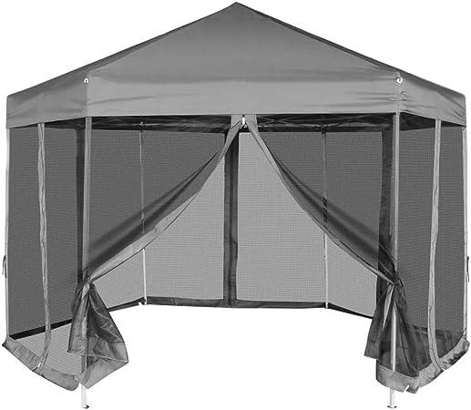 Tidyard Hexagonal Plegable Carpa de Jardín Cenador para Patio Tienda para Camping Fiesta Celebraciones Boda Fiest Barbacoa Camping con 6 Paredes Laterales de Malla Gris 3,6x3,1m: Amazon.es: Hogar