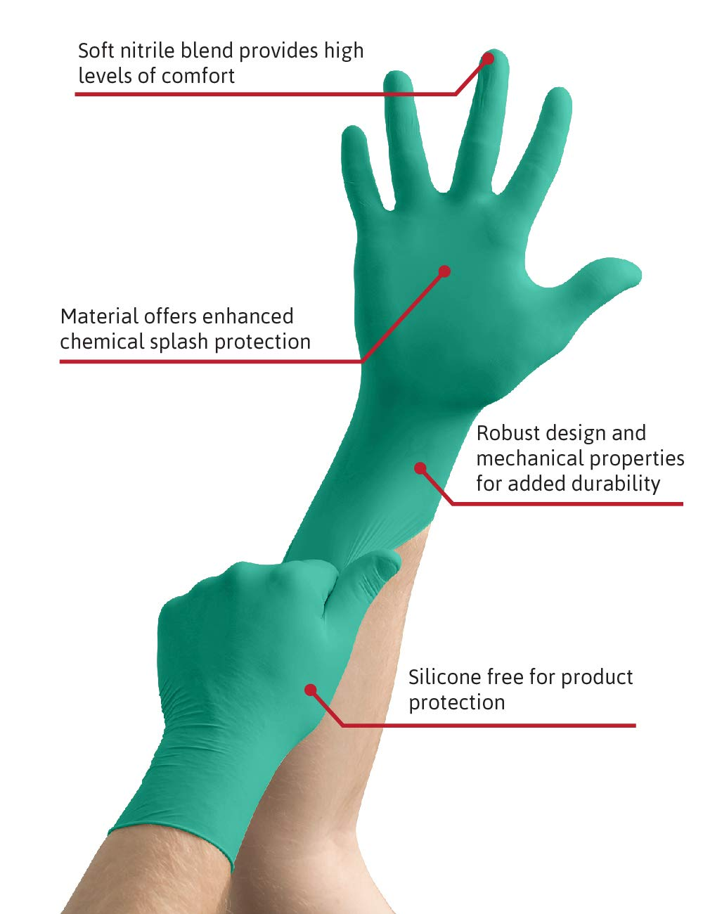 Ansell TouchNTuff 92-600 Nitrile Lightweight Glove with Beaded Cuff, Chemical/Splash Resistance, Powder Free, 4.7mil Thickness, 240mm Length, Size 8, Green (Box of 100) by Ansell (Image #2)
