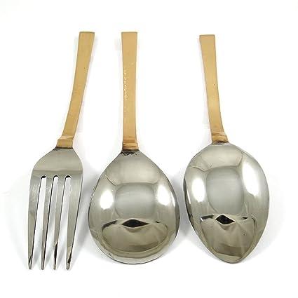Chapado En Cobre Acero Inoxidable Indio Tradicional Especial 3 Pieza Sirve Set Cuchara Tenedor Cocina Con