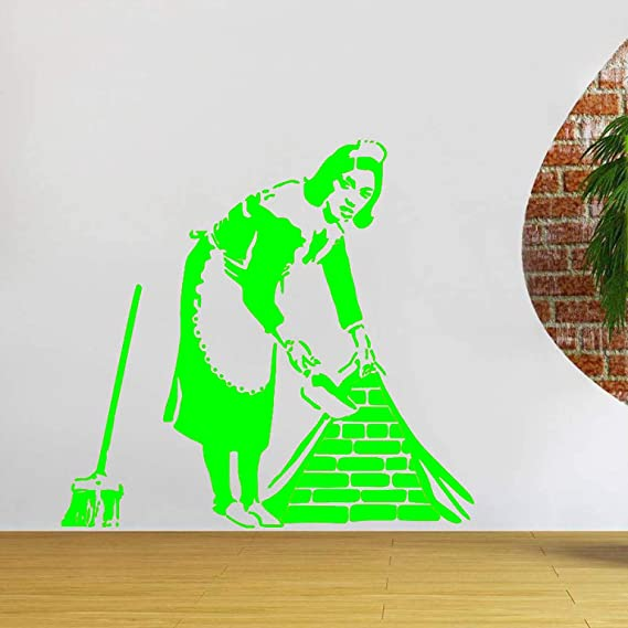 zqyjhkou Stencil Cleaning Lady Decor Maid Pegatinas de Pared ...
