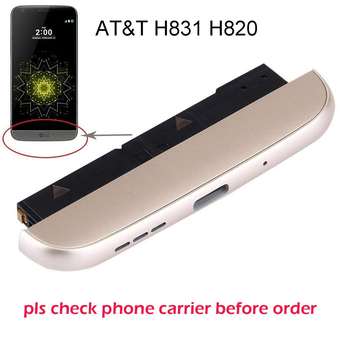 Ogodeal Charging Port Bottom Module + Microphone + Loudspeaker Modules + Bottom Chin Cover Cap + Battery Type-c Usb Port Assembly Replacement For LG G5 At&T Carrier H831 H820 (Gold)