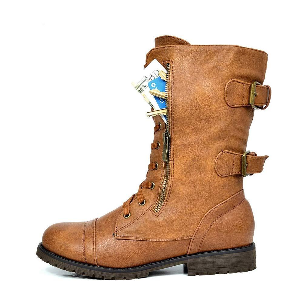 d01c250c4 Amazon.com   DREAM PAIRS Women's Winter Lace up Mid Calf Combat Boots    Ankle & Bootie