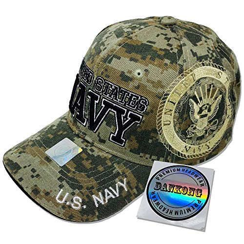 (GREAT CAP Cotton Military Hat - U.S. Navy Official Licensed Hat 3D Embroidered with Size Adjustable Hoop and Loop Closure for Men and Women - United States Navy - Side Logo - Camouflage)