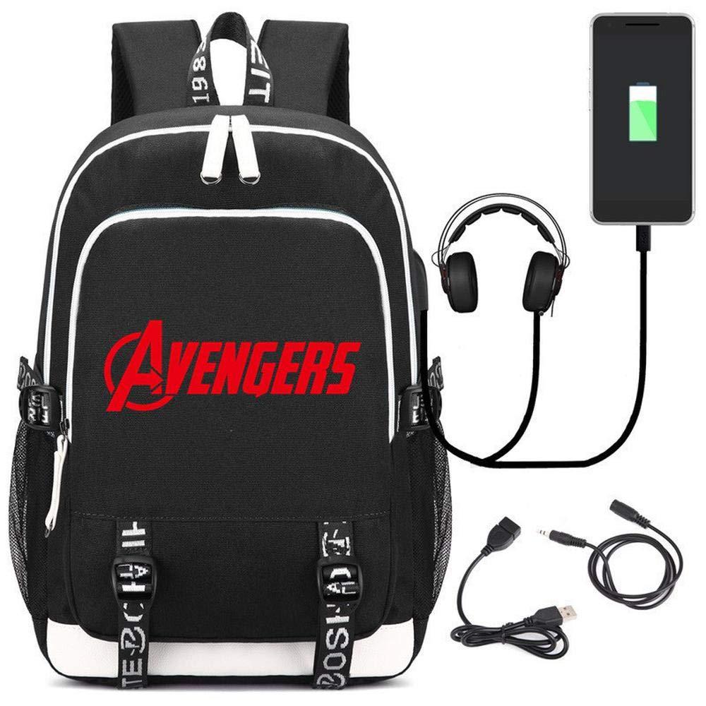 Black RLJqwad Avengers 4 Marvel Heroes Backpack USB Charging Student Backpack Computer Bag bluee