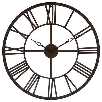 3bffb92dd4941 Grande horloge pendule murale en métal style vintage - Diamètre 70 cm -  Coloris Marron effet