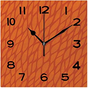 SUPNON Rustic 8 Inch Square Wall Clock, Burnt Orange, Abstract Foliage Leaves Pattern Sketch Nature Battery Operated, Vintage Farmhouse Wall Decor for The Kitchen Living Room or Office No06358