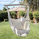 ARKSEN Outdoor Hanging Cotton Pillow Hammock Chair Swing Furniture, Natural White