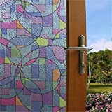 Abstract Stained Glass Circles Decorative, Privacy, Static Cling Window Film (36'' x 25ft Roll)