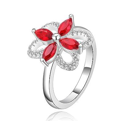 425ef091e Efloral Women's Jewelry Silver Ruby Flower Ring: Amazon.co.uk: Jewellery