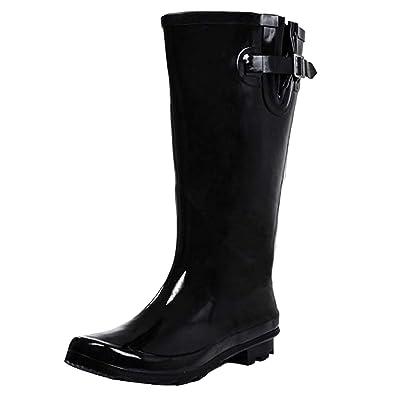 0daddf734c3 Onlineshoe Women s Wide Calf Festival Rain Boots Leopard Print Black Yellow  Uk3 - Eu36 - Us5