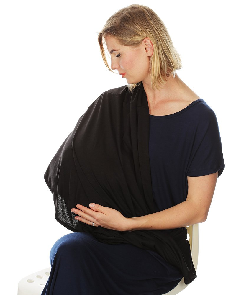 Kiddo Care Nursing Cover Infinity Nursing Scarf for Breastfeeding (Bold Black)
