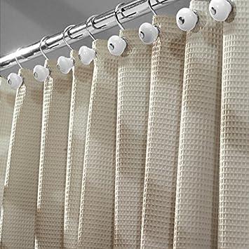 mDesign rideau de douche tissu de luxe (en coton et en polyester) -  dimensions : 180 cm x 180 cm, couleur : beige - rideau de baignoire -  rideau de ...
