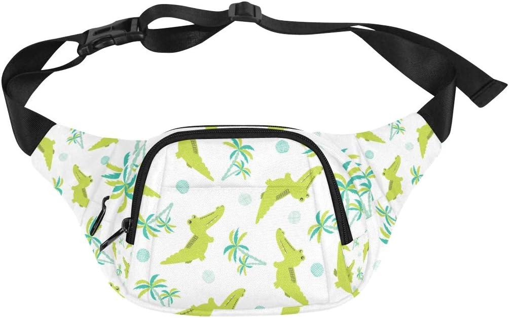 Alligator And Cactus Fenny Packs Waist Bags Adjustable Belt Waterproof Nylon Travel Running Sport Vacation Party For Men Women Boys Girls Kids