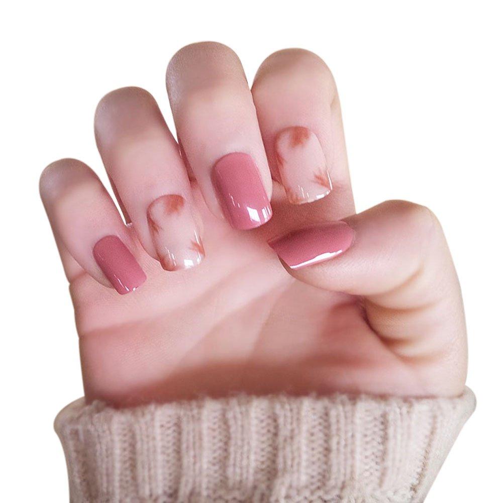 lzndeal 24 pcs/set 3d uñas postizas con adhesiva Face Mignon completo enveloppé Nail consejos arte decoración Manicura Uñas Postizas Artificiales: ...