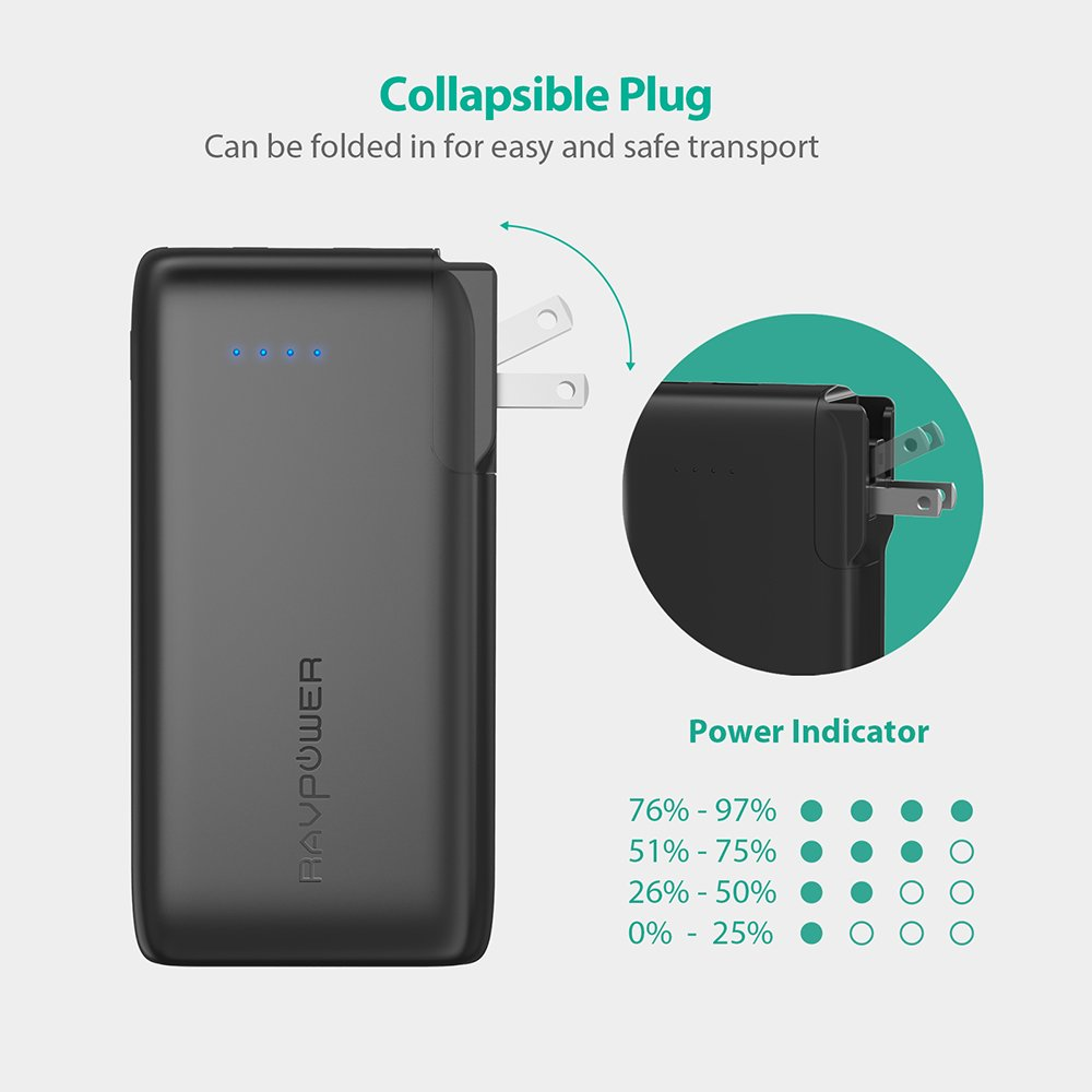 Portable Charger 10000 RAVPower 2-in-1 Wall Charger and Power Bank, 10000mAh Capacity with AC Plug, Dual iSmart 2.0 USB Ports, 3.4A Max Output for iPhone X, iPhone 8, iPad, Samsung Galaxy and More by RAVPower (Image #6)