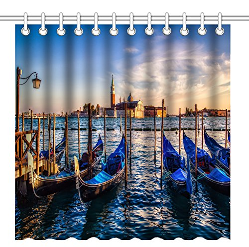 Shower Curtain,Venice Gondolas at Sunset Retro Old Boat Landscape,Waterproof Polyester Fabric Decorative Bathroom Bath Curtains (Gondola Boats)