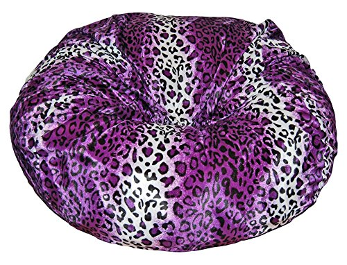 Ahh! Products Leopard Animal Print Fur Washable Large Bean Bag Chair, Purple by Ahh! Products