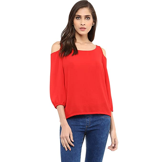 006a7df0f7e31 Pannkh Women s Polyester Cold-Shoulder Top  Amazon.in  Clothing ...