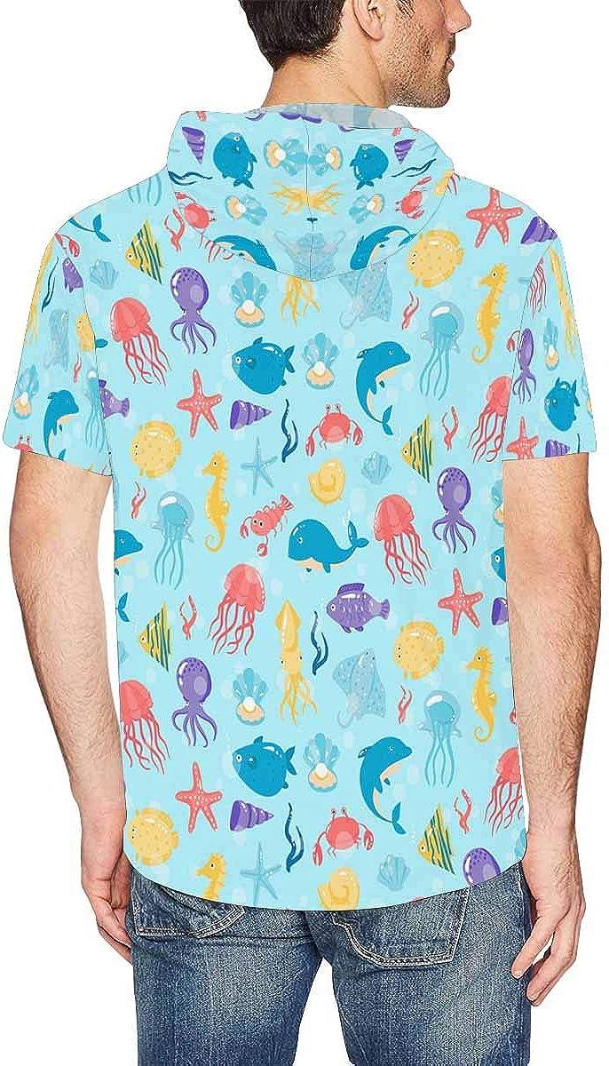 INTERESTPRINT Mens Hoodies Pullover Sea Animals Drawstring Short Sleeve Hooded Tops XS-2XL