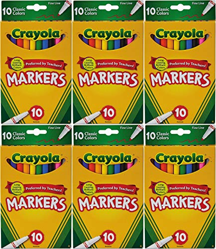 Crayola Classic Colors Fine Line 10 Markers Per Pack (Pack of 6) 60 Markers In Total Crayola Fine Tip Classic Markers