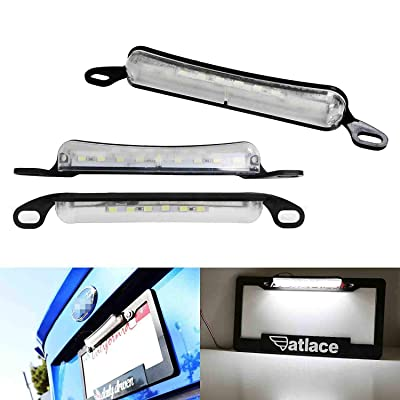 iJDMTOY 35-073-White Two-Way Frame Mount Plate Car Truck SUV Van RV, Powered by 9 Xenon White License Lamp & 6 Pieces LED as Back Reverse Light: Automotive