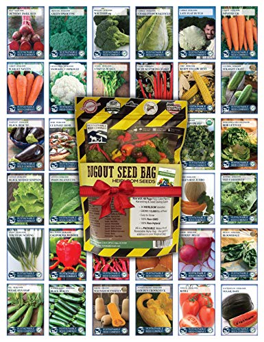 22,000 Non GMO Heirloom Vegetable Seeds, Survival Garden, Emergency Seed Vault, 34 var, Bug out Bag ()