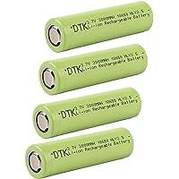 DTK 18650 3.7V Li-Ion Pile Batteria Testa Piatta Ricaricabile 3000mAh (4 Pezzi)
