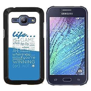 /Skull Market/ - Life Is A Game Typography For Samsung Galaxy J1 J100 J100H - Mano cubierta de la caja pintada de encargo de lujo -