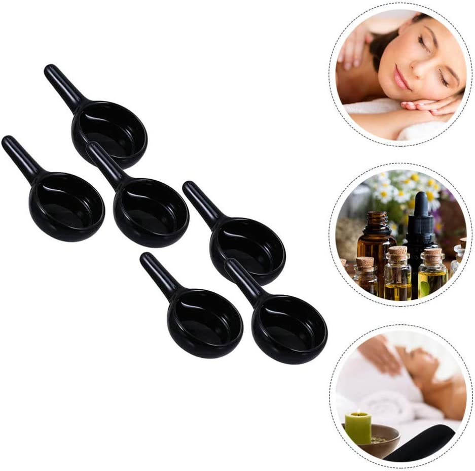 HEALLILY 6pcs Tealight Candle Spoon Wax Warmer Spoon Ceramic Small Candle Holder for Essential Oil Burner Tealight Candle Holder Fragrance Aromatherapy Diffuser Black