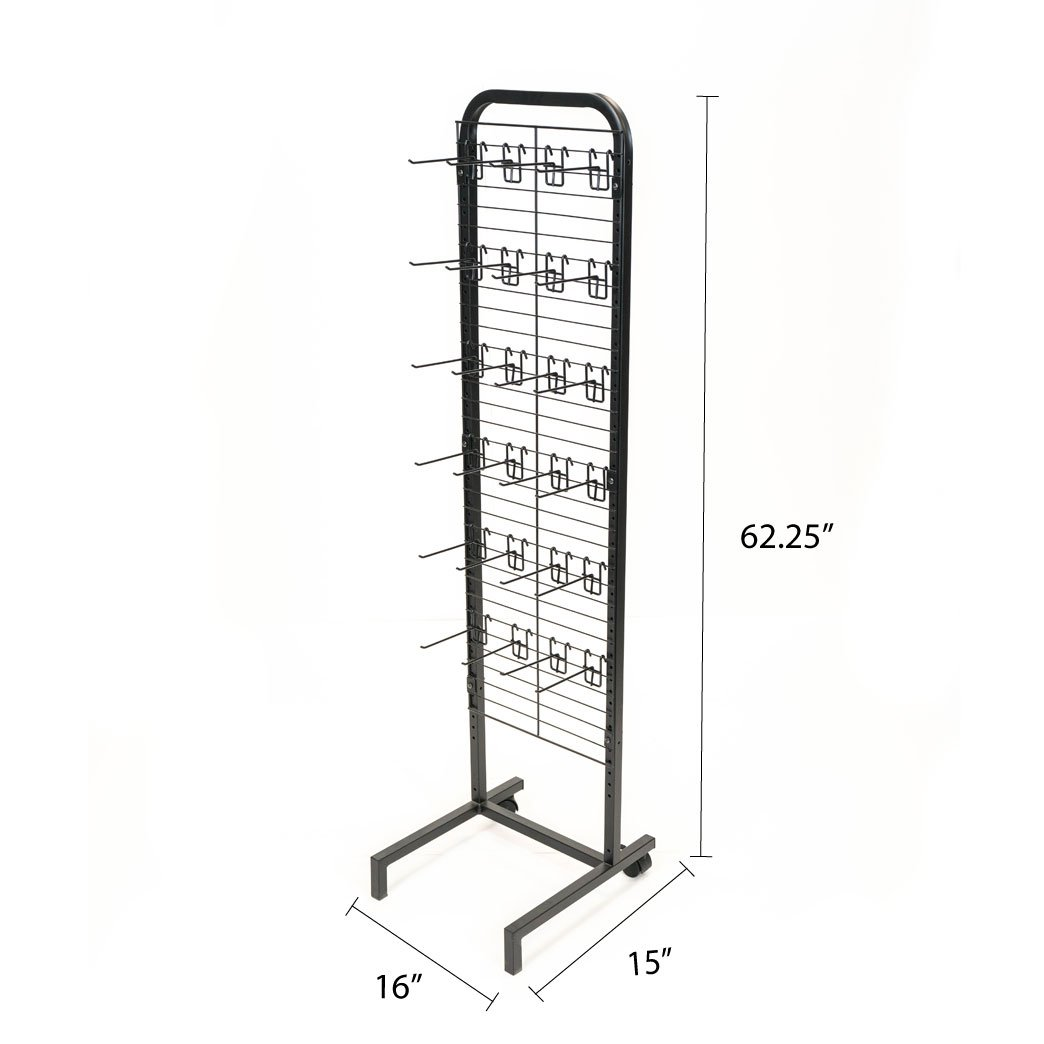 Rich DLXS-16ME-24HK6B Floor Display with Metal Tube Frame, Metal Base with Rear Wheels, Wire Grid Panel, and 24 Removable 6'' Hooks. Black Powder Coated Finish by RICH (Image #4)