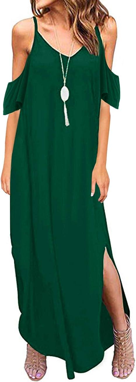 TALLA S. ACHIOOWA Mujer Vestido Elegante Casual Dress Cuello V Sin Manga Playa Tirantes Bolsillos Punto Falda Larga Azul