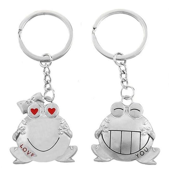 Dosige 2 Piezas Aleación creativa boca rana pareja llavero animales de metal de dibujos animados par llavero regalos del día de San Valentín Plateado ...