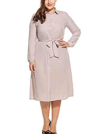 MDOUWoo Women Dress Plus Size Turn Down Collar Long Sleeve Bow Belted Button Down Dresses Vestidos