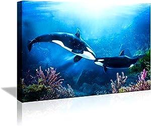 QINGYI Bathroom Decor Canvas Wall Art for Bathroom Ocean Decor Modern Girls Room Decor Framed Wall Art Blue Dolphins