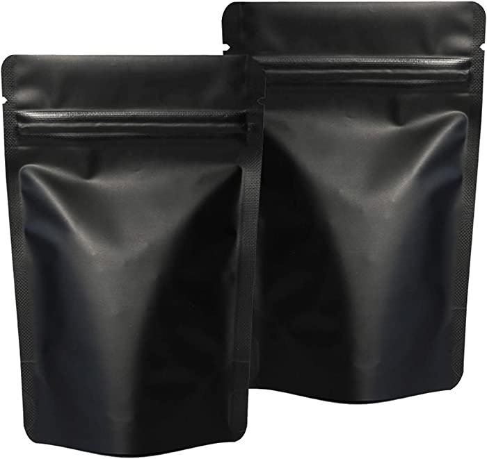 100 Pack Smell Proof Bags - 4 x 6 Inches Resealable Mylar Bags Stand Up Ziplock Bags Food Storage Foil Pouch Matte Black