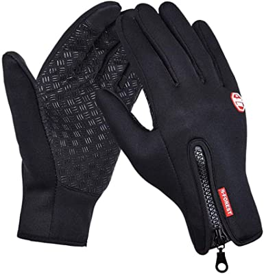 Rouoi Winter Touch Screen Gloves Non-Slip Outdoor Sports Long Finger Riding Gloves