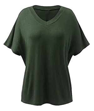 Oberora Women Fashion V-neck Short Sleeve Solid T-Shirt Blouse Tops Armygre M