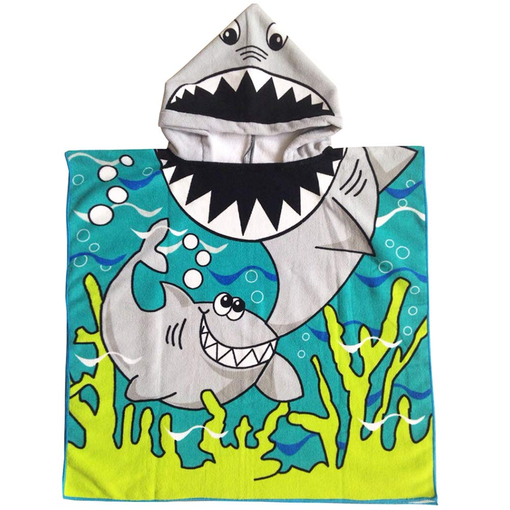 Peicees Kids Beach Swim Pool Towel Toddler Baby Children Bath Shower Towel Bathrobe Hooded Poncho For 2-10 Years Old Boys and Girls(Shark 1) by Peicees