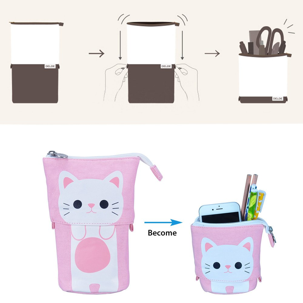 Oyachic Telescopic Pencil Stand Case Canvas Zipper Pen Pouch Small Cosmetics Bag Cute with Inner Pocket (Pink) by Oyachic (Image #6)