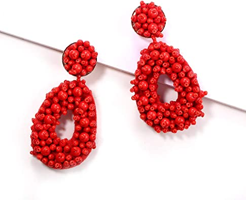 Cukeyouz Statement Beaded Hoop Earrings Bohemian Handmade Round Drop Earrings Women Jewelry Fashion Stud Earrings Gifts for Mom Women Girls